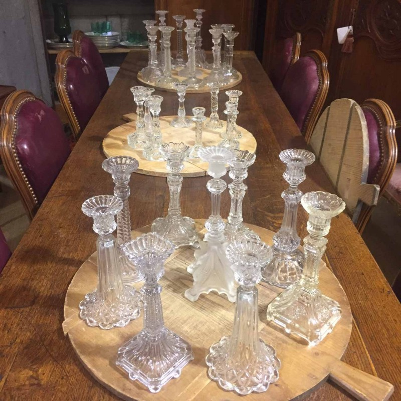 Assorted C1940 Glass Candle Holders