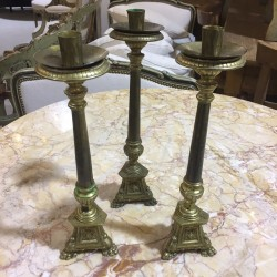 Set of 3 Brass Pique Cierge
