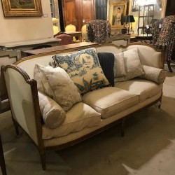 C19th French Napoleon III Gilded Louis XVI Style Daybed