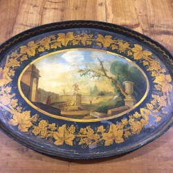 19th Century Tin Hand Painted Tray