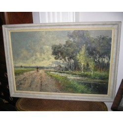 C 1950 French Oil on Canvas