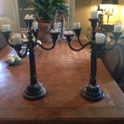 19th Century Pair of Wood Candelabra