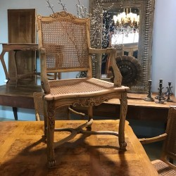 C1900 Louis Style Four Caned Seat Fauteuil