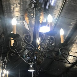 C 1950 Hand Forged Chandelier