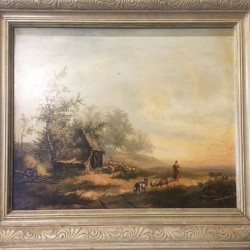 19th Century French oil on board Painting