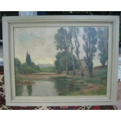 c1900 French Painting Oil on Canvas